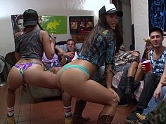 Good college girls striping and sucking
