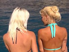 Hot blonde lesbian babes on a boat