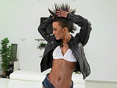 Sexy Ebony Babe Displays Her Flat Tummy & Disrobes